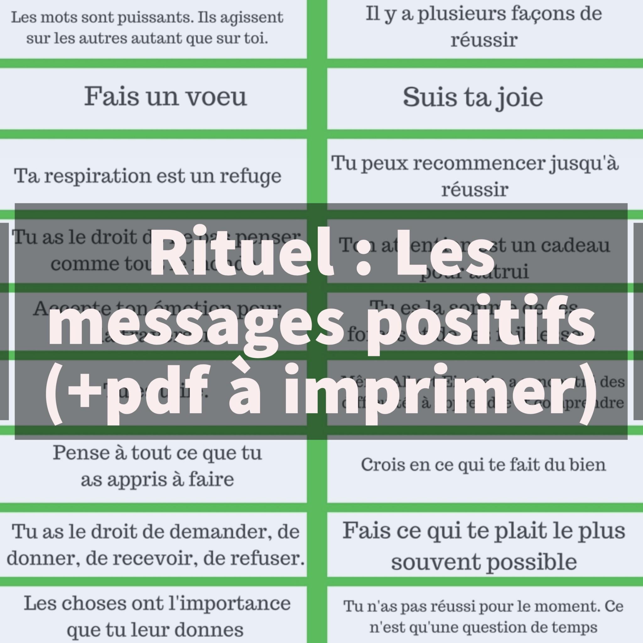 Message Pour Calendrier De L Avent.Rituel Les Messages Positifs Pdf A Imprimer