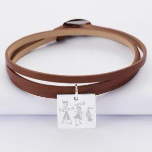bracelet-3-tours-cuir-personnalise-medaille-gravee-argent-dormeuse-carre-18x18-mm