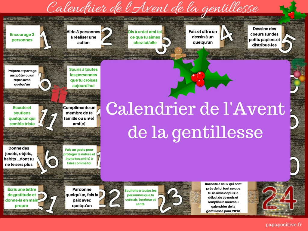 le calendrier de l 39 avent de la gentillesse t l chargement gratuit. Black Bedroom Furniture Sets. Home Design Ideas