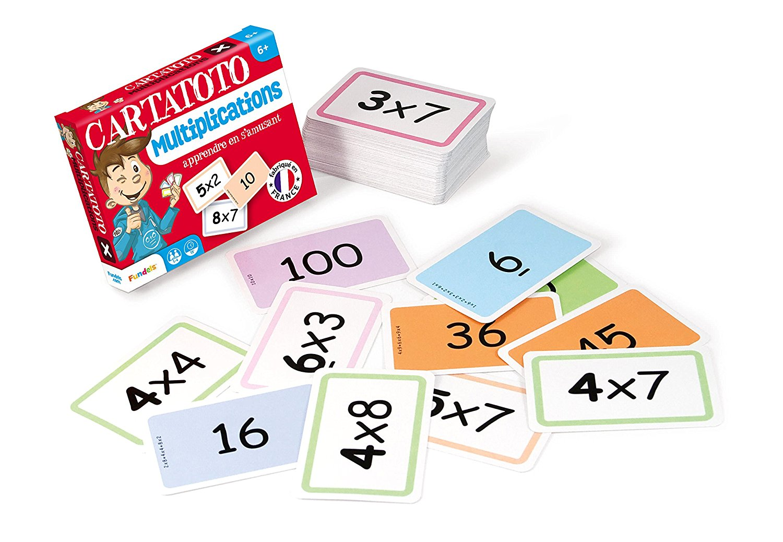 10 jeux de cartes en une seule boite pour apprendre les tables de multiplication