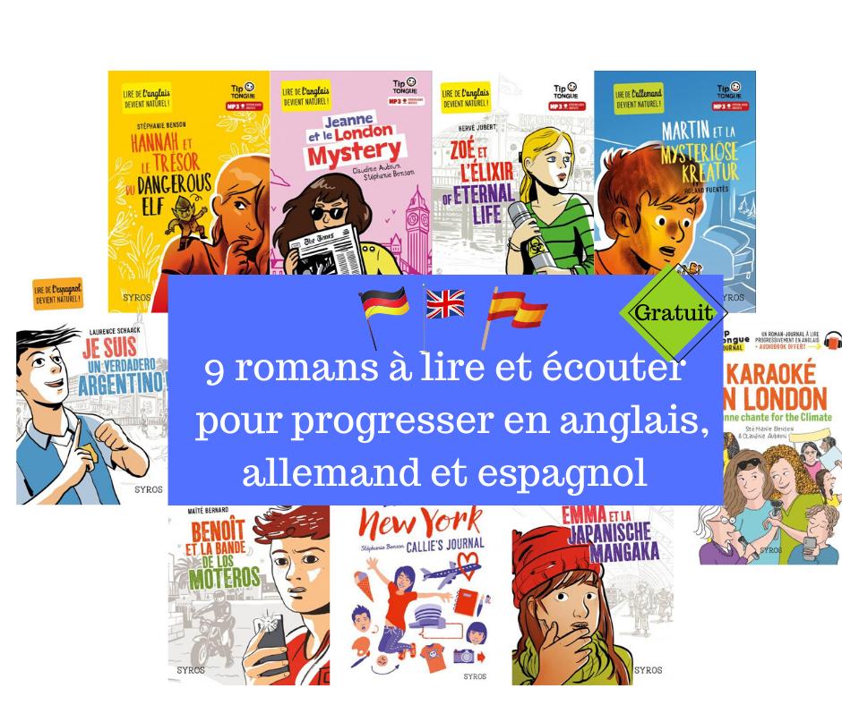 9 romans pour apprendre l'anglais, l'espagnol, l'allemand
