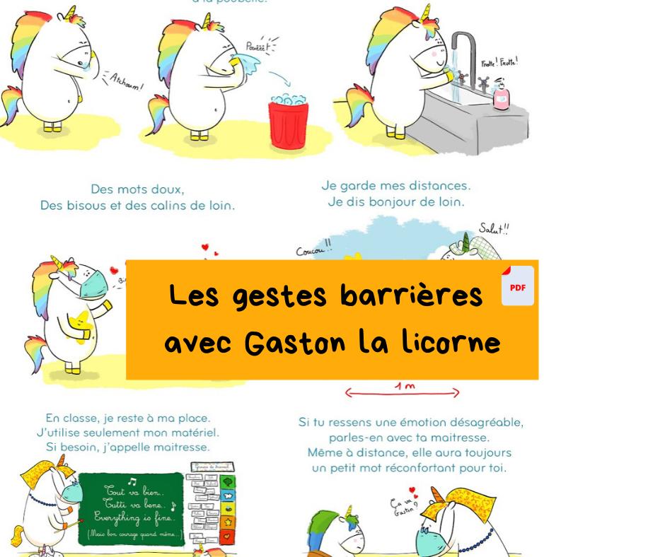 Les gestes barrières de Gaston la licorne (téléchargement gratuit)
