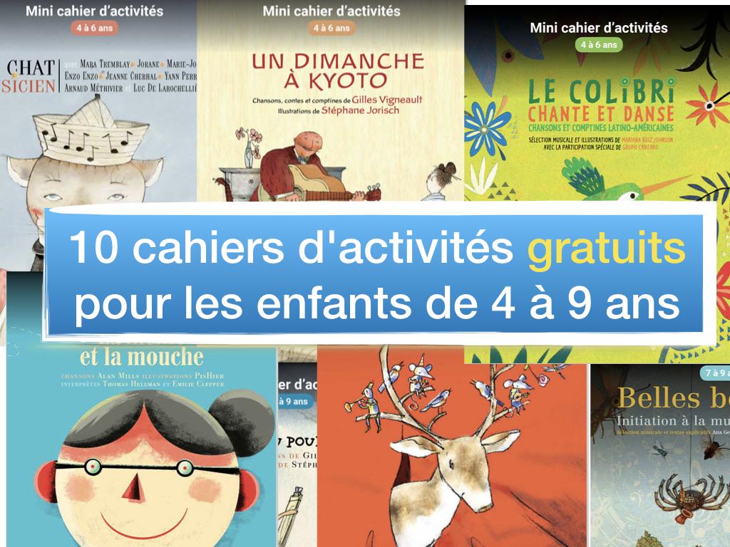 10 cahiers d'activités gratuits pour les enfants de 4 à 9 ans